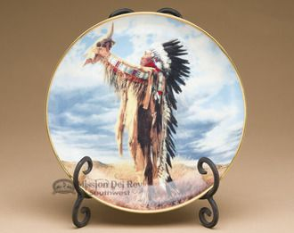Native America Collector Plate & Stand from the American Indian Heritage Foundation Museum - Prayer to the Great Spirit, by Paul Calle (plt33)