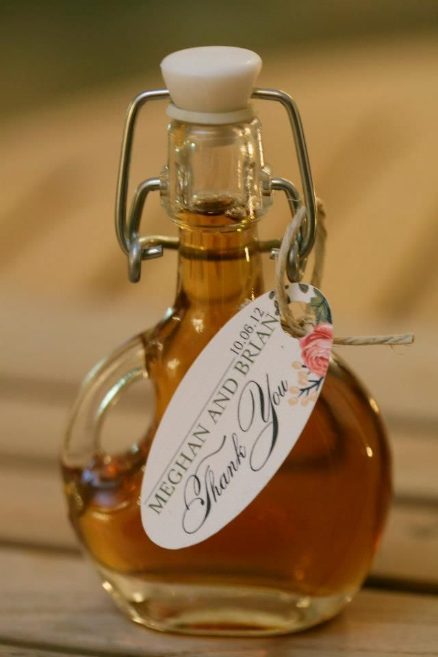 My parents thought of maple syrup for the wedding favors! So sweet and perfect for our brunch reception!