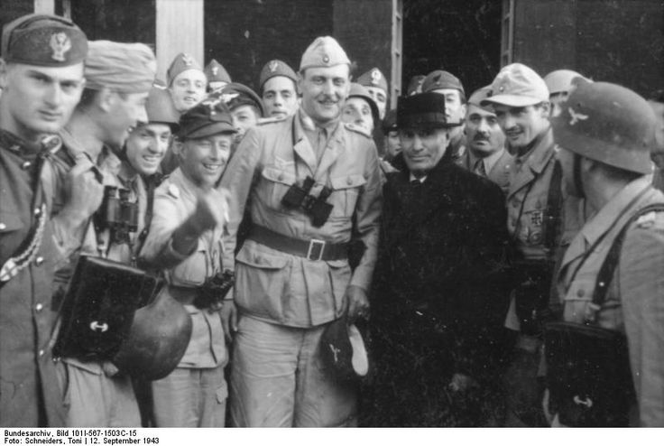 Otto Skorzeny, Harald Mors, and Benito Mussolini in front of Hotel Campo Imperatore, Gran Sasso, Italy, 12 Sep 1943, photo 1 of 4