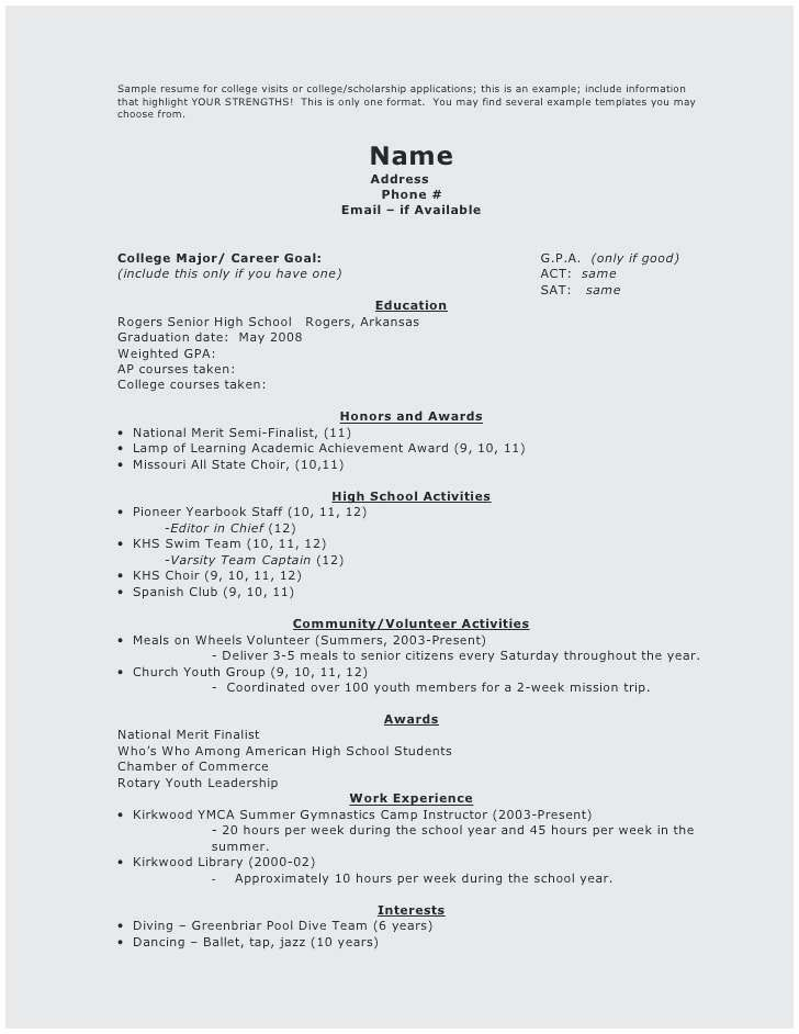 73 New Gallery Of Resume Sample For Senior High School Student
