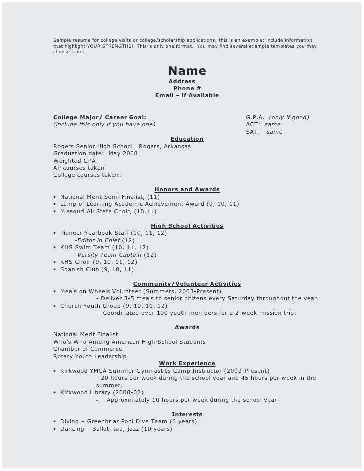 73 New Gallery Of Resume Sample For Senior High School Student