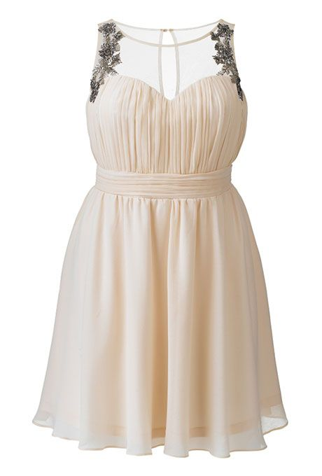 """Brides.com: 21 Stylish, Short Plus-Size Wedding DressesTrending Now: Sparkly Metallic Wedding Dresses21 Stylish, Short Plus-Size Wedding Dresses%0A""""Laced in Love"""" embellished dress, $109.95, Simply BePhoto: Courtesy of Simply Be"""