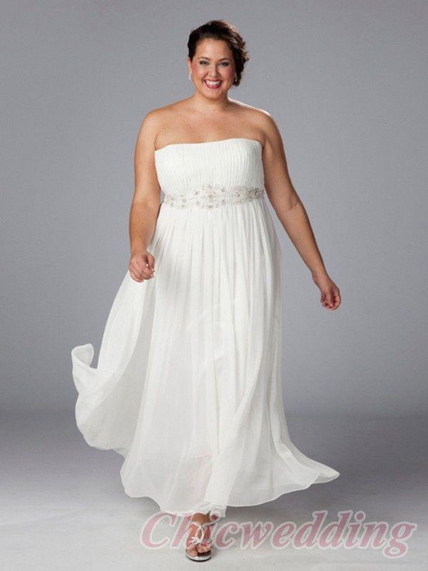 Trending Sumptuous Empire Strapless Ankle length Beaded u Ruffles Plus Size Wedding Dresses