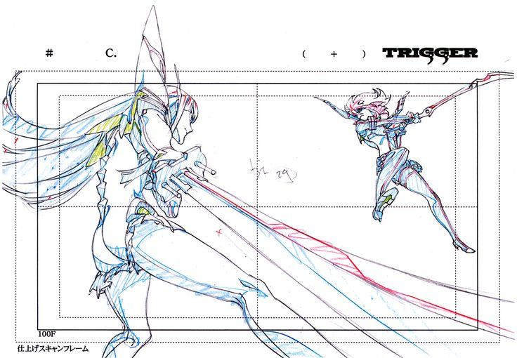artbooksnat:Kill la Kill (キルラキル)Key frames from the 360-degree fight sequence between Ryuko and Satsuki, at the end of the first opening animation, were featured in the Kill la Kill Animation Originals Book Vol. 01 (Amazon US | Trigger). It's kind of amazing to see just how much from each frame never makes it on screen.