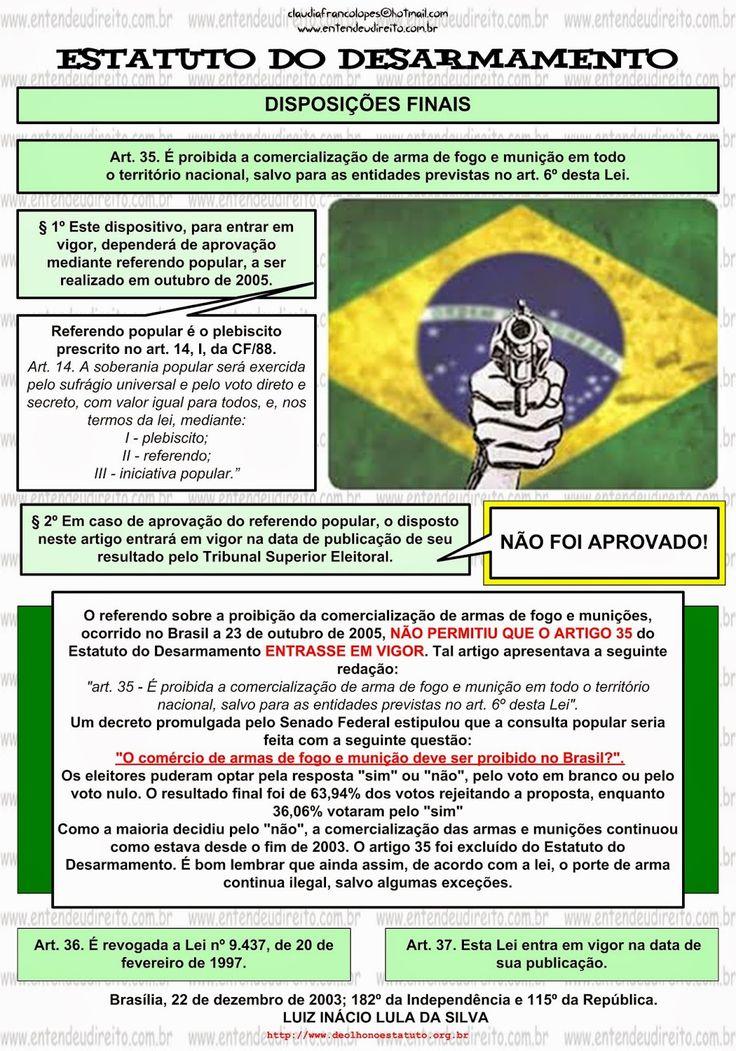 ENTENDEU DIREITO OU QUER QUE DESENHE ???: ESTATUTO DO DESARMAMENTO - LEI 10.826/03