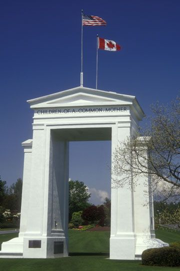 The Peace Arch border crossing monument in White Rock, British Columbia. The border between the U.S and Canada is the longest undefended border in the world.