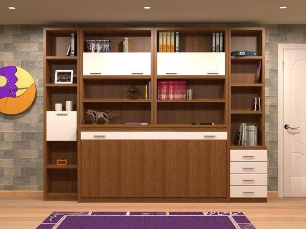 Cama abatible con estanterias 22 - cama de 90 y 180,190 y 200cms