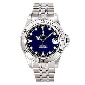 a tudor prince date submariner 75190 mens automatic watch blue dial ss 36mm