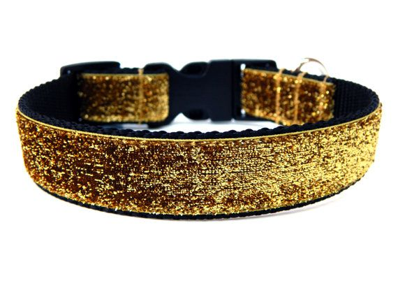 Gold Dog Collar 1 Gold Glitter Dog Collar by Wagologie on Etsy, $18.00, for Jubilee with a red bow
