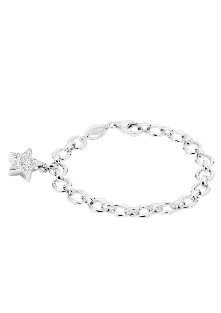 Armband, »JFS00227«, Fossil.  Strahlen Sie mit diesem funkelnden Stern um die Wette. Der glänzende, massive Armschmuck ist aus rhodiniertem Silber 925 gefertigt. Glitzernde Zirkonia (synth.) schmücken den zauberhaften, ca. 1,8 cm langen Anhänger. Das Armband in Ankerkettengliederung hat eine Länge von ca. 18,5 cm und einen Karabinerverschluss.  Lieferung in einer Fossil Verpackung....
