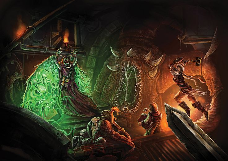 Huge A1 Epic Fantasy art print: original illustration- Dungeon Crawl by TheNobleArtist on Etsy
