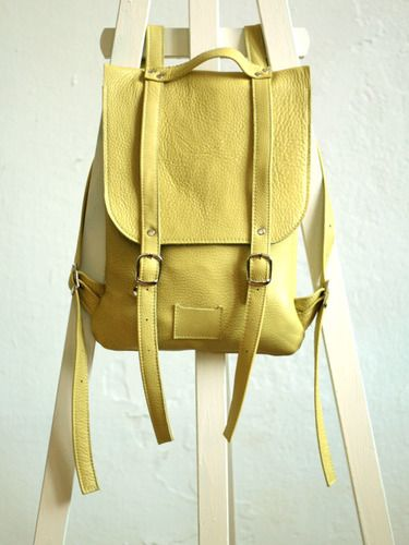 Лимонный рюкзак из гладкой кожи Colorful leather backpack rucksack Kokosina