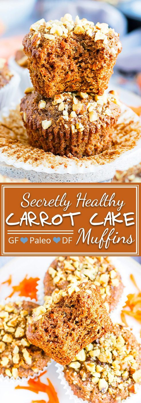 Gluten Free + Paleo Carrot Cake Muffins | With Easter just around the corner, a batch of these gluten-free and Paleo carrot cake muffins are sure to hit the sweet spot!  Grain-free, dairy-free, loaded with fresh carrots and topped with crunchy walnuts… These Paleo carrot muffins will give you that healthy breakfast win!