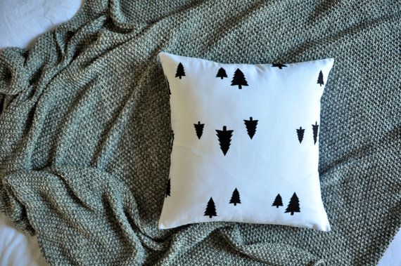 White With Black Pine Trees Envelope Cushion by trimandthread