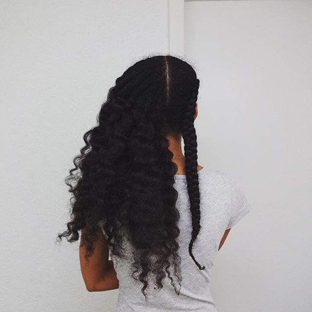 @twodollarsricher || long natural hair. beyond waist length hair. cornrow braid. long afro hair. long natural hair. long kinky hair