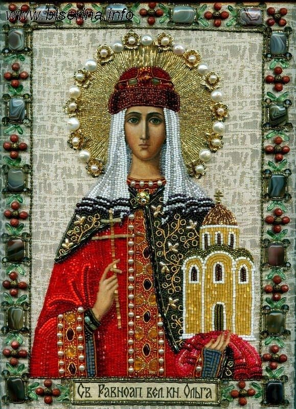 St Olga, the ruler of Kievan Rus from 945 to 969, the widow of Igor Of The Rurik dynasty. She took Christianity at the age of 60 in the Byzantine Empire's capital and tried to baptize her son who preferred to stay pagan though he did not restricted her to distribute Christianity.She ordered to build churches and brought first priests to Russia.Also she initiated the laws to rule territories on single standards.