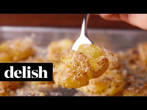 Garlic Smashed Potatoes Recipe - Delish.com