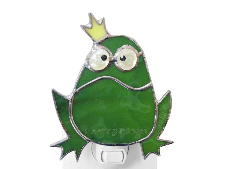 Frog Prince Night Light Stained Glass Green Nursery Night Light Grumpy Frog Handmade Nightlight by FleetingStillness on Etsy https://www.etsy.com/listing/150669161/frog-prince-night-light-stained-glass