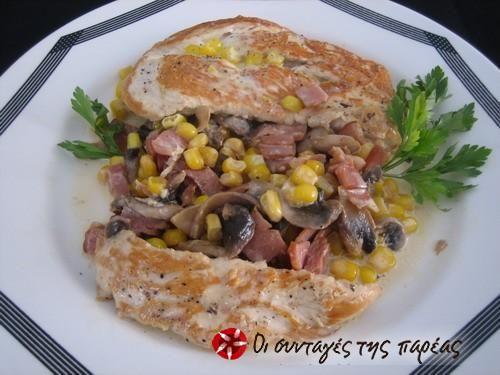 Κοτόπουλο με μανιτάρια και καλαμπόκι #sintagespareas