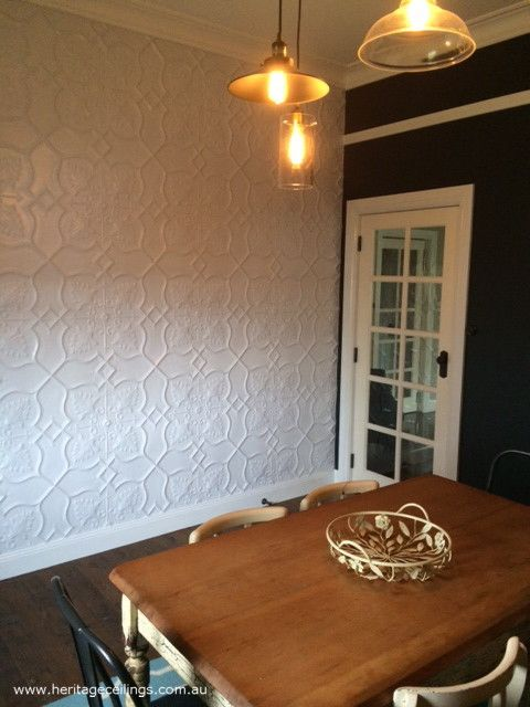 Pressed tin Shield design used on this feature wall. For more photos see: http://www.heritageceilings.com.au/clients-projects/shields-pressed-tin-feature-wall.php Come and join us on www.facebook.com/HeritageCeilings