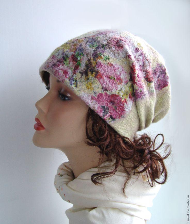 """Купить Валяная шапка """"Цветы лайма"""" - валяная шапка, шапка, шапка женская, шапка зимняя"""