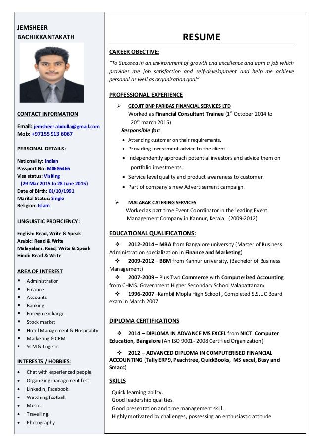 resume examples in marketing