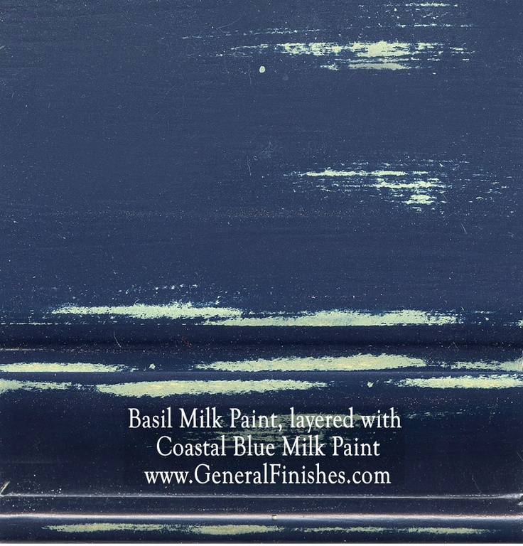 Basil Milk Paint, layered with Coastal Blue Milk Paint by www.GeneralFinishes.com. Perfect for indoor or outdoor furniture & projects - check out http://www.generalfinishes.com/retail-products/water-base-milk-paints-glazes Intermixable from the can - easier to use than chalk paint! Mix it, lighten it, distress it, glaze it, antique it - the only limit is your imagination. Available at unfinished furniture stores - http://www.buyunfinishedfurniture.com, Rockler and Woodcraft Woodworking…