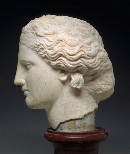 Marble head of a statue of Dionysos. Greek. Classical or Hellenistic Period, c. 340 B.C.   Museum of Fine Arts, Boston
