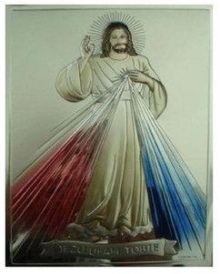 Srebrny obrazek Jezu Ufam Tobie zdobiony cieniowanymi promieniami w kolorze niebieskim i czerwonym. #prezent #chrzest #komunia