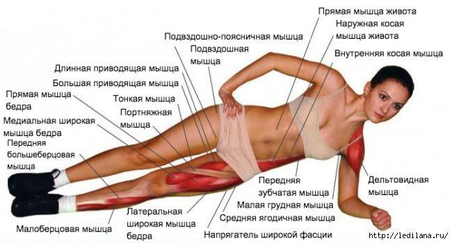 Боковая планка  Это упражнение для пресса эффективнее традиционной планки, так как вы удерживаете вес всего тела на двух точках контакта вместо четырех. Вам приходится больше напрягаться, чтобы сохранить равновесие.