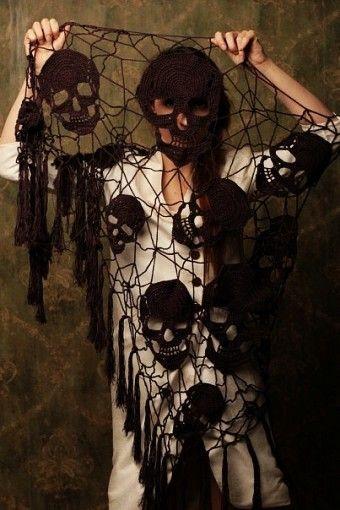 black crochet skull Tassel shawl - mesh knit pattern - LoveItSoMuch.com