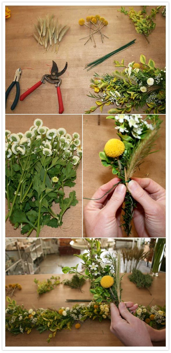 How to make a floral garland. Or a wreath for your hair, or a boutonniere.