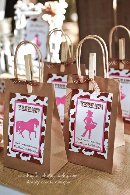 Cowgirl party favors (cute clothespin and ribbon!)