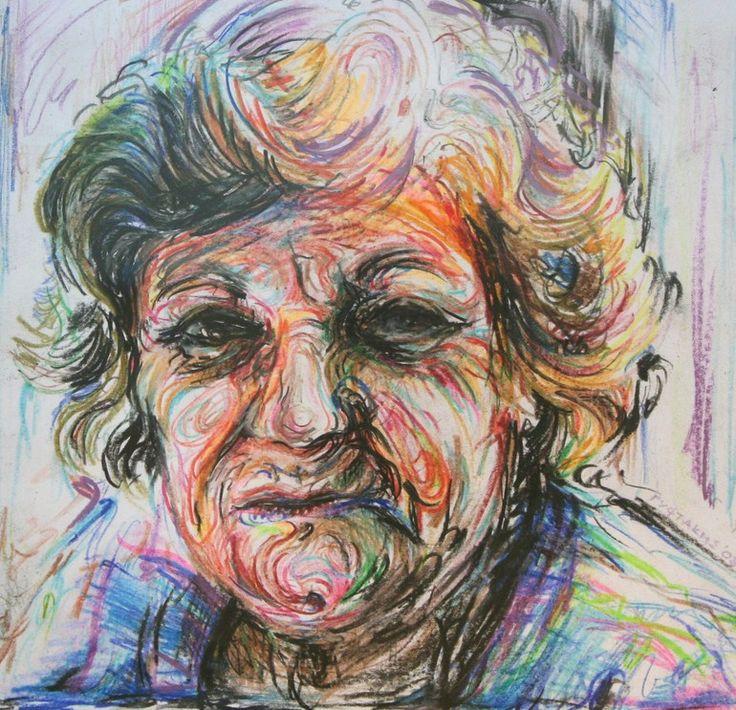 "Saatchi Online Artist: Nikos Gyftakis; Colored Pencils, 2011, Drawing ""Aunt Georgia"""