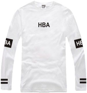 Men's Hood By Air Long Sleeve T Shirts Man HBA Hip Hop 100% Cotton O Neck T…