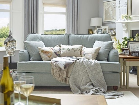 Downton Sofa bed from Willow & Hall - approx. £1300  Head on (dressed),Shown in Textured Chenille Duck Egg