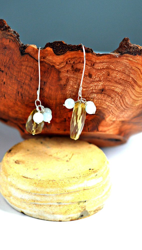 Beaded lemon quartz sterling silver earrings by Akweleydesign