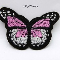 Patch papillon rose thermocollant x1