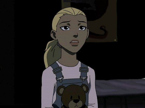 "Season 1 Episode 12 Homefront: Flashback: Little Artemis: ""Please, please don't go."" Jade(Cheshire): ""Sorry sis. But Mom isn't getting out of prison any time soon and I refuse to live in a house with just dad."" Little Artemis: ""Dad, and you, and me. We have to keep this family from falling apart."""