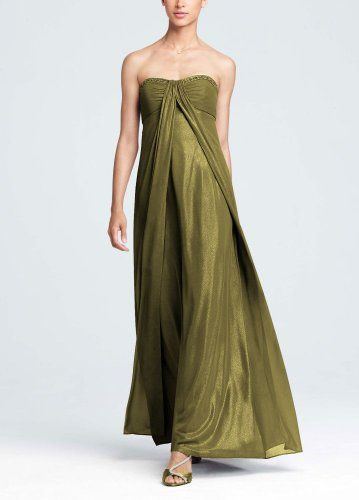 David`s Bridal Bridesmaid Dresses Fog Foil Split Front A-Line Dress with Beading Style F13092