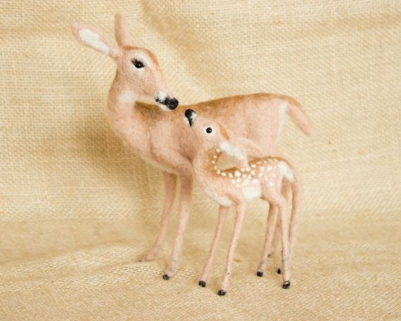 Grace the Deer and her Fawn Brody Needle felted by TheWoolenWagon, $148.00