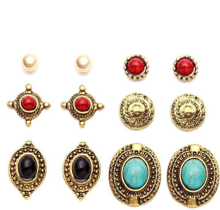 9d53d0f9f Antique Gold Carved Gemstone Stud Earrings Set | Products | Earrings ...