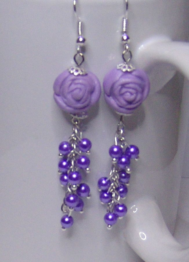 Handmade polymer clay and beaded earrings