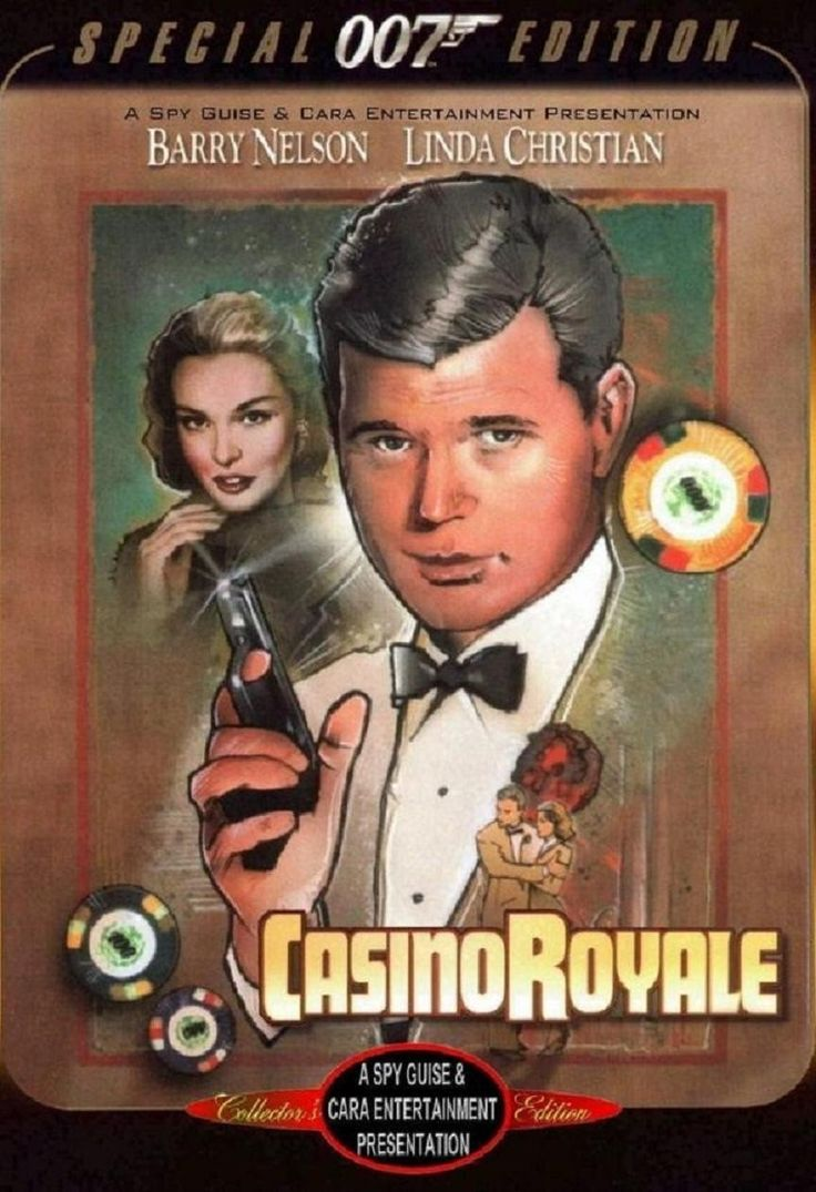 """Casino Royale"", episode of CBS' series ""Climax!"", played live and broadcasted on 21 October 1954. Starring Barry Nelson (as James Bond), Peter Lorre (as Le Chiffre) and Linda Christian (as Valerie Mathis)."
