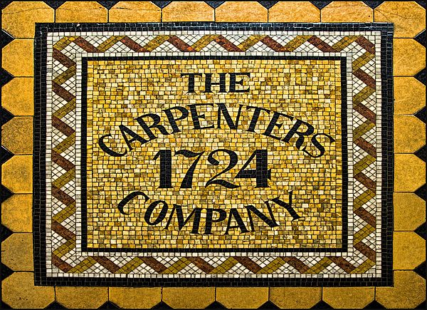 The tile work welcomes visitors to historic Carpenters Hall--site of the First Continental Congress. Today, approximately 150 women and men--all prominent architects, contractors or structural engineers--continue the 300-year tradition of the Carpenters' Company. The Company's total membership since 1724 stands at almost 900. #Philadelphia #PHL #carpenterscompany #PHL