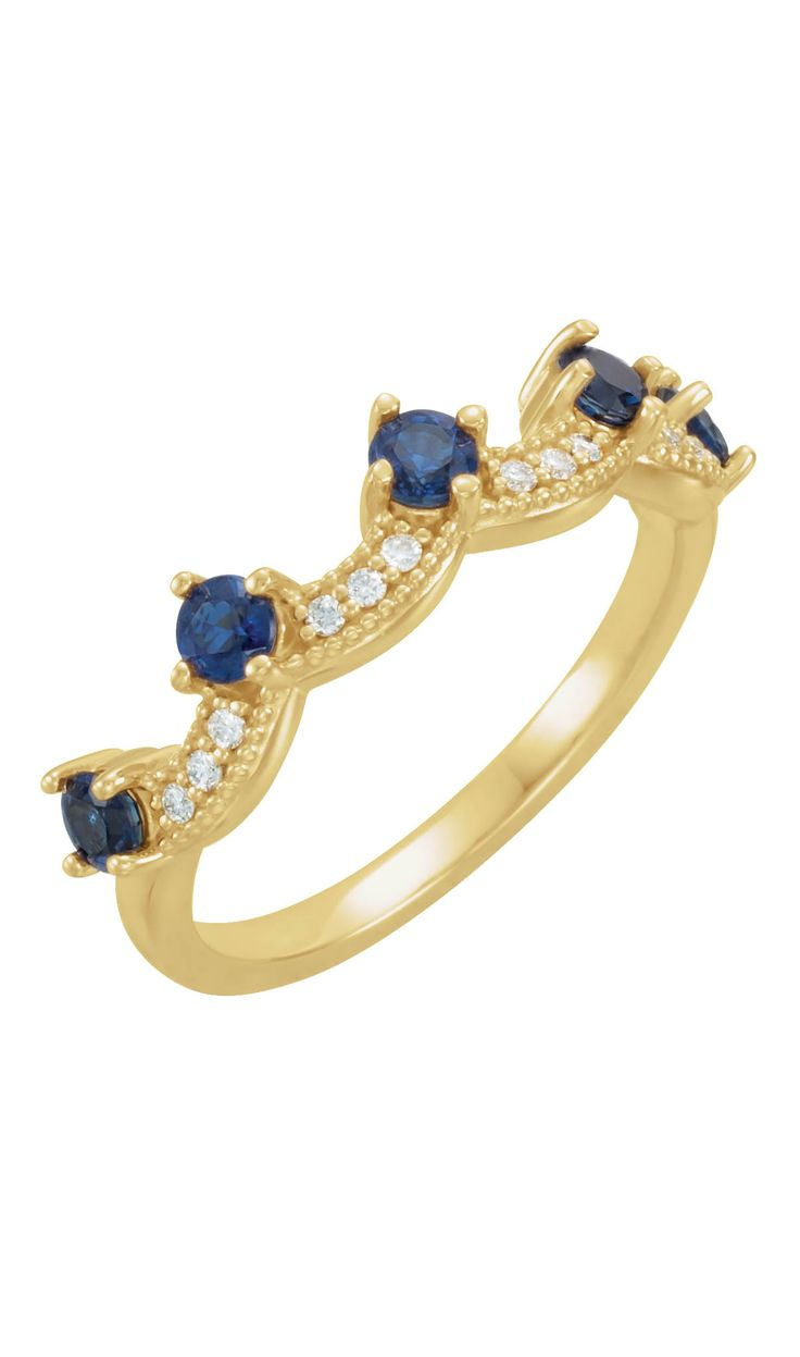 Blue Sapphire and Diamond Crown Ring to celebrate September Birthdays! Click through for product details OR to locate a jeweler near you.
