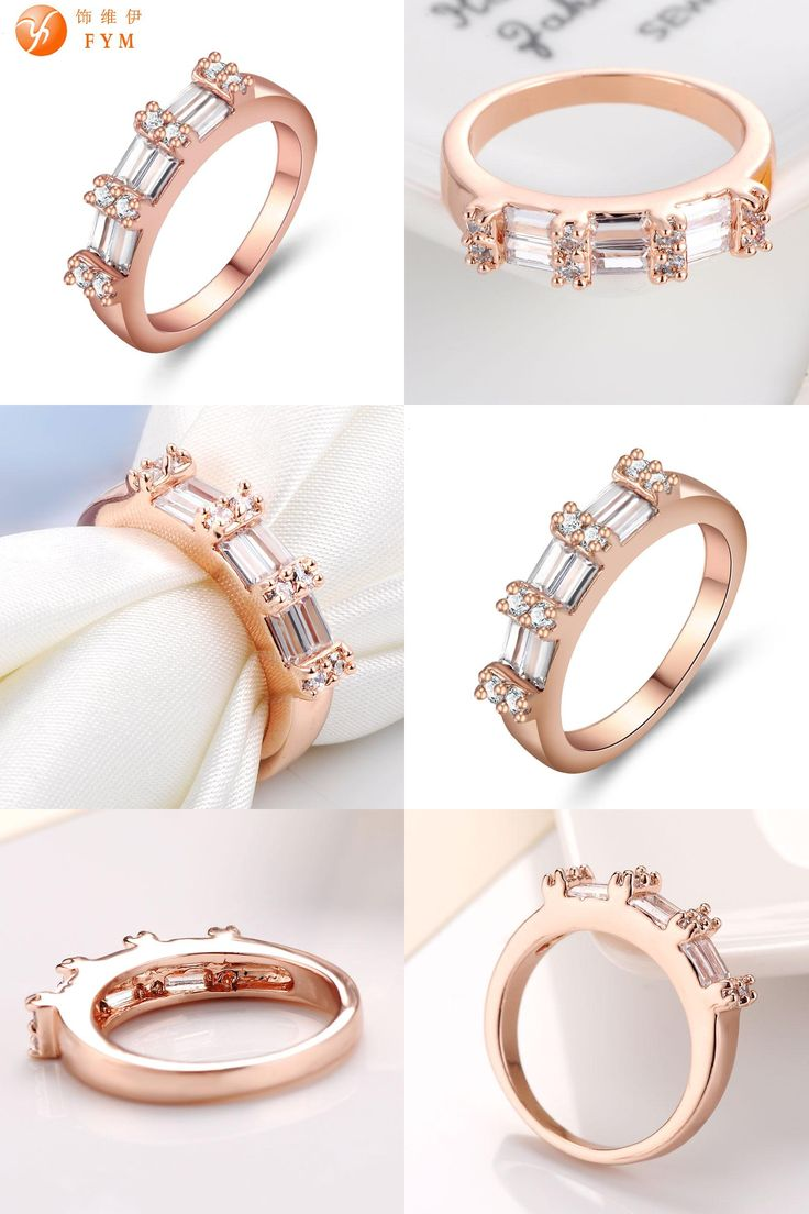 [Visit to Buy] Womens Lovely Engagement Finger Rings Luxury Cubic Zirconia Rose Gold Color Wedding Bands Jewelry for Women Bride Promise Ring #Advertisement