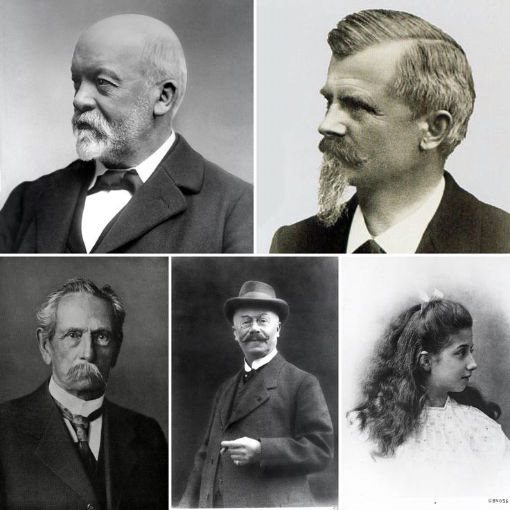 The origins of today's Mercedes-Benz brand can be traced back to the 1886, when Karl Benz (lower left) built his Benz Patent Motorwagen; four years later, in 1890, Gottlieb Daimler (upper left) founded Daimler-Motoren-Gesellschaft with Wilhelm Maybach (upper right) in which its most famous automobile, the Mercedes, was named after Emil Jellinek's (lower center) daughter Mercedes (lower right); in 1926, the two companies merged to become the company we know today
