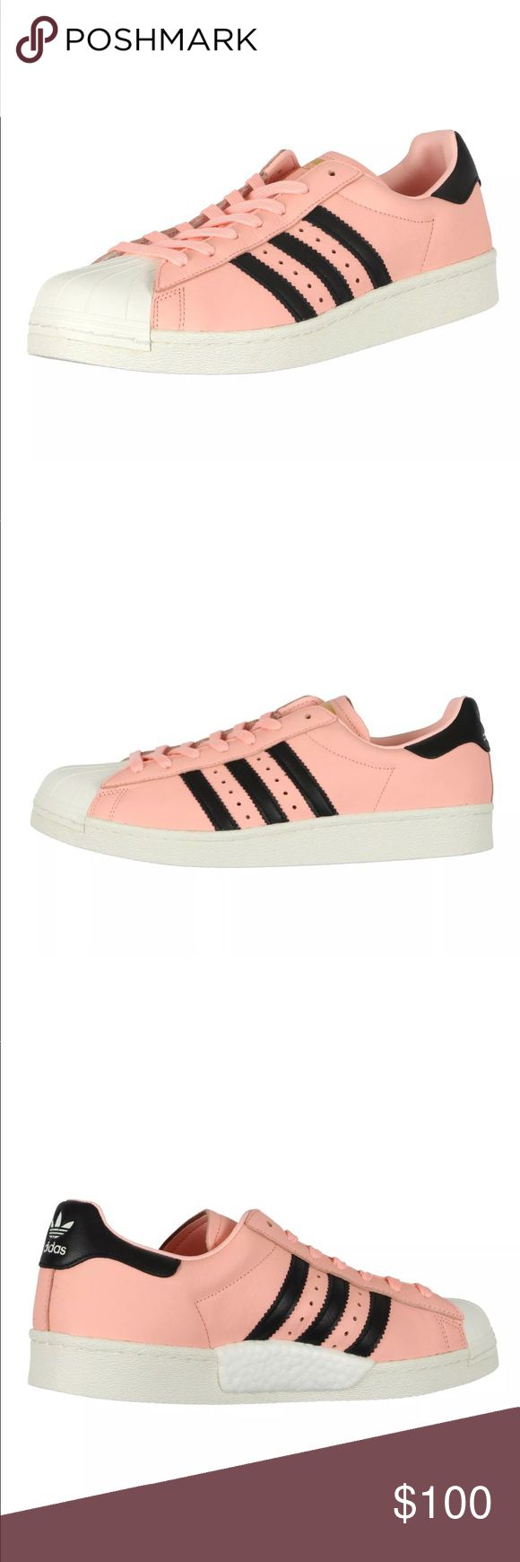 Adidas Men's Superstar Boost Sneakers Coral Pink Adidas Superstar Boost Sneakers (Style #BB2731). Shoes are coral hazel pink, black, and white in color. Launched in 1970 as a revolutionary basketball performance style, the Adidas Superstar shoe was the sp #MensFashionSneakers