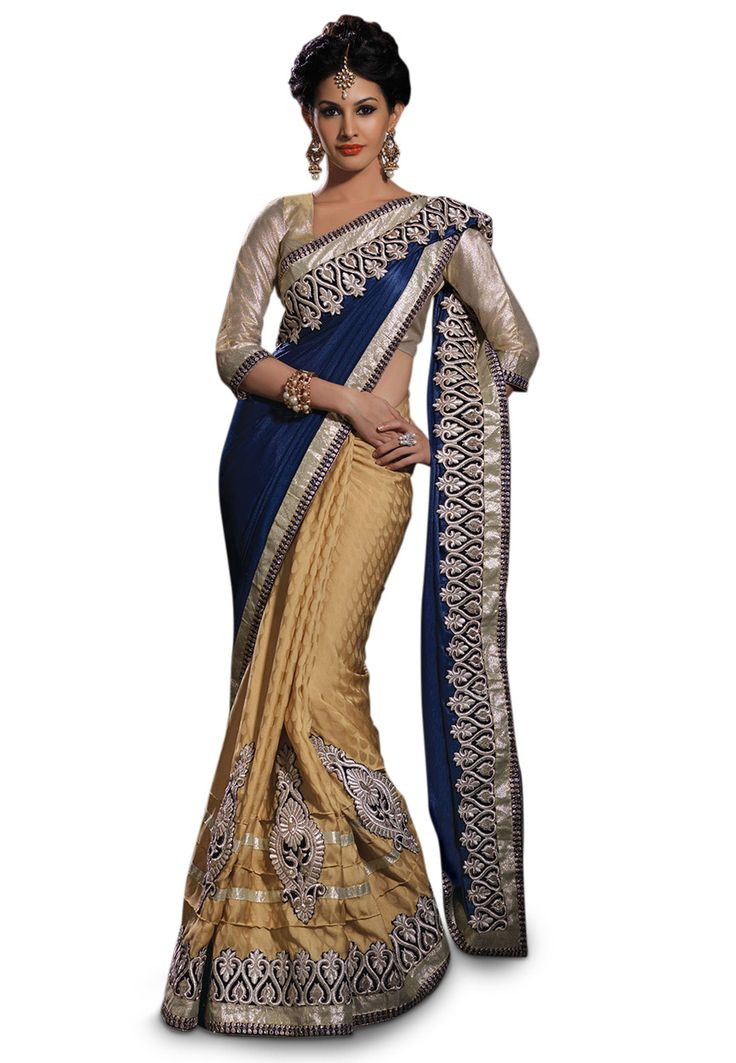 Buy Dark Blue Art Satin Chiffon and Faux Crepe Jacquard Saree with Blouse online, work: Embroidered, color: Beige / Dark Blue, usage: Wedding, category: Sarees, fabric: Satin, price: $109.10, item code: SYG321, gender: women, brand: Utsav